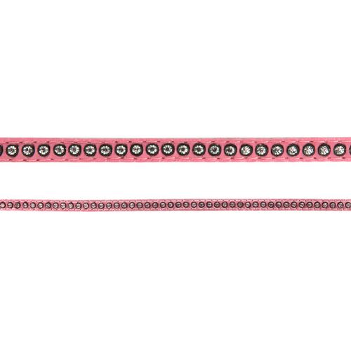 """X"" Pink Swarovski Real Leather with Crystals 6mm approx 50cm"