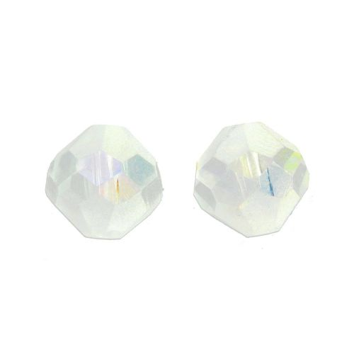 CrystaLove ™ / frosted / glass crystals / diamond / 8mm / white / opalescent / 4pcs