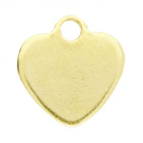 Heart / pendant / surgical steel / 10x10x1mm / gold / 2pcs