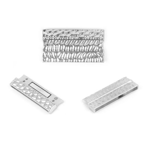 X- Silver Plated Hammered Long Magnetic Clasp 43x23mm Pk1