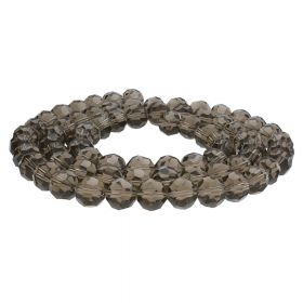 CrystaLove™ crystals / glass  / faceted round / 4mm / grey-brown / transparent / 100pcs