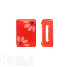Red Flower Polaris Rectangle Bead with Swarovski Crystals 6x10x15mm Pk1