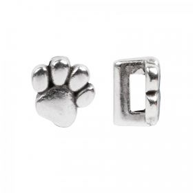Antique Silver Plated Zamak Paw Slider Charm Bead 9x9mm Pk 1