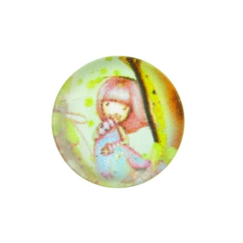 Glass cabochon with graphics 12mm PT1515 / green-pink / 4pcs