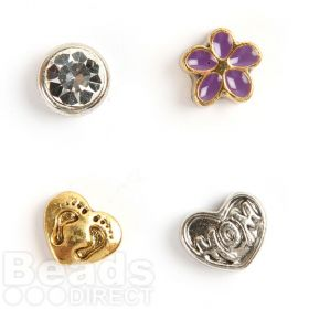 Flower, Mom, Footprint, Clear Crystal Small Floating Locket Charms Pk4