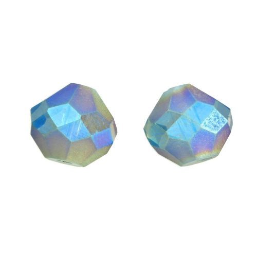 CrystaLove ™ / frosted / glass crystals / diamond / 10mm / grey / opalescent / 4pcs