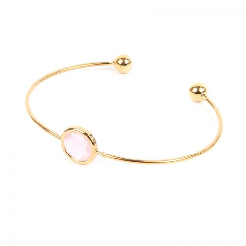 Ready to Wear Gold Plated Small Bangle with Pink Glass Crystal