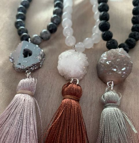 How to make a beaded tassel druzy necklace - jewellery making tutorial