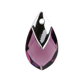 6565 Swarovski Crystal Pear Shaped Pendant 18mm Amethyst with Light Chrome Metallic Cap Z Pk1