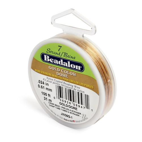 X Beadalon 7 Strand Flexible Beading Wire 'Gold Colour' 0.024in 100ft