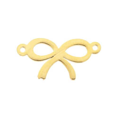 Bow / connector / surgical steel / 9x18x1.5 / gold / 1pcs