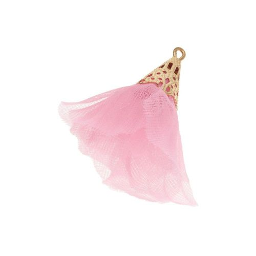 Tulle flower / with openwork tip / 30mm / Gold Plated / light pink / 2 pcs