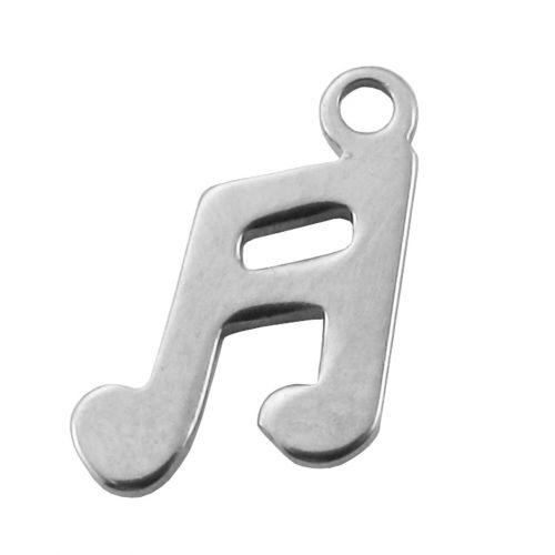 Musical note / pendant / surgical steel / 14x8x1mm / silver / hole 2mm / 2pcs