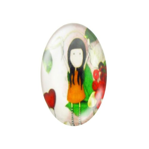 Glass cabochon with graphics oval 18x25mm PT1512 / green / 2pcs