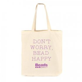 Beads Direct 'Don't Worry Bead Happy' Canvas Tote Bag