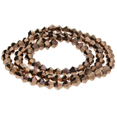 CrystaLove™ crystals / glass / bicone / 4mm / dark brown / lustered / 110pcs