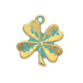 Clover / charm pendant / 17x15x1mm / antique gold - aqua / 4pcs