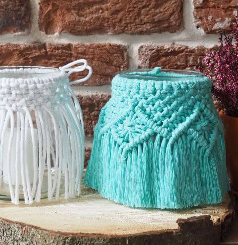 Decorations made using cotton cord – macrame cord lantern