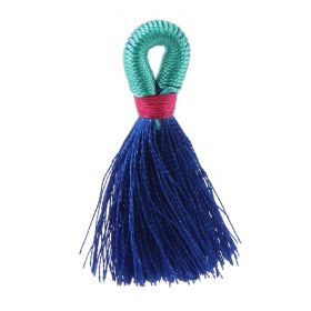 Blue/Mint/Fuchsia Loop Tassel 40mm Pk1