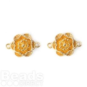 Gold Plated Flower Connector Charm 13mm Pk2
