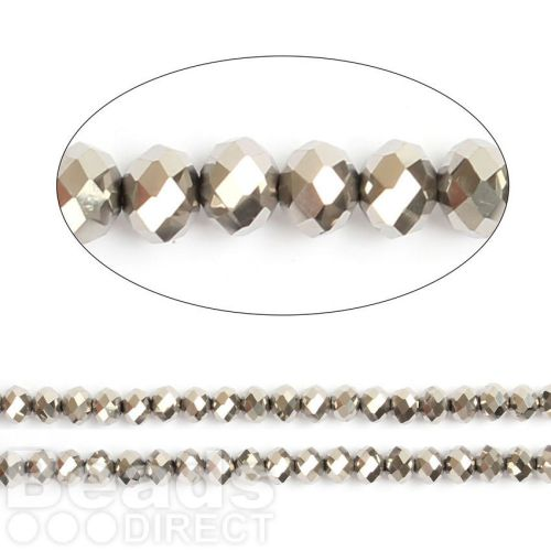 """Silver Full Coat Essential Crystal Glass Faceted Rondelle Beads 8mm 16""""Strand"""
