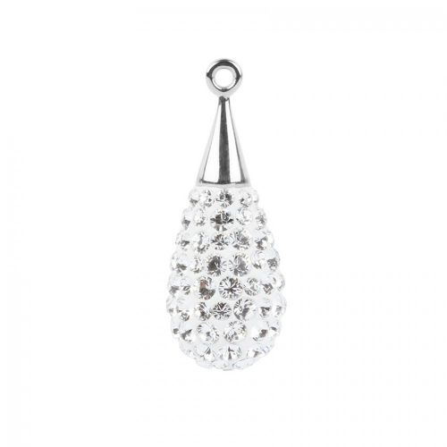 """X"" 67563 Swarovski Crystal Pave Drop 10x26mm Rhodium Plated Crystal Pk1"