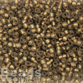 Toho Size 6 Round Seed Beads Frosted Gold Lined Black Diamond 10g