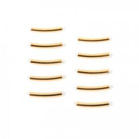Gold Plated Brass Curved Tube Bead 15x2mm (1.5mm inner) Pk10