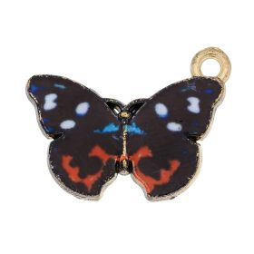 SweetCharm™ butterfly / charm pendant / 15x20x2mm / gold plated / black / 2pcs
