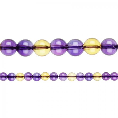 "Natural Ametrine Semi Precious Round Beads 6mm 15"" Strand"