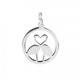Sterling Silver 925 Kissing Flamingo Charm with Loop 13mm Pk1