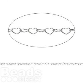 Sterling Silver 925 Tiny Heart Chain 1.7x2.5mm Pre Cut 1metre