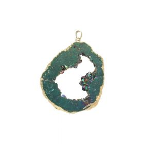 Druzy agate / pendant / irregular / 68x59x10mm / dark sea / 1pcs