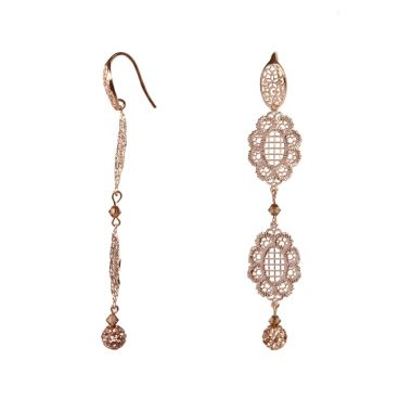 'Filigree Gems' Rose Gold Lace Earrings