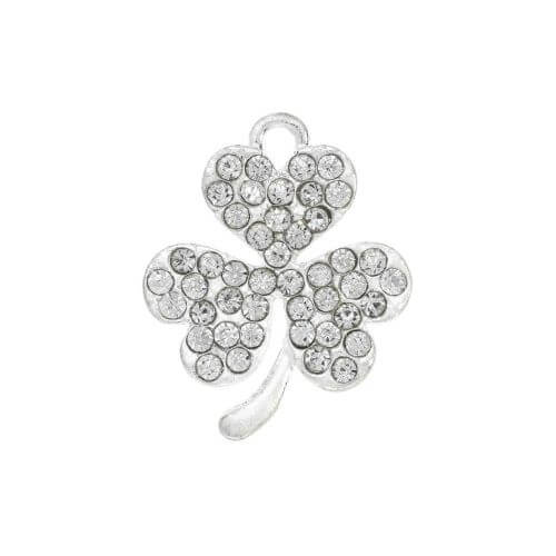 Glamm ™ Clover / charm pendant / with zircons / 19x15.5mm / bright silver / 1pcs