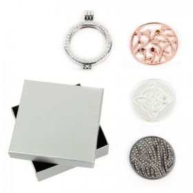 Silver Large Interchangeable Locket with 3 Coins and Box