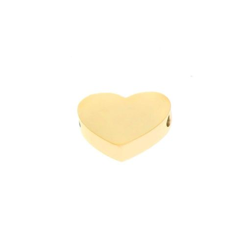 Heart / spacer / surgical steel / 15x14x3mm / gold / 1pcs