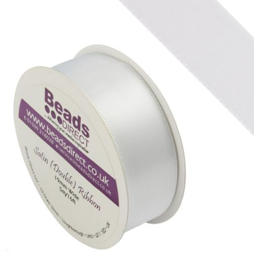 X-White Double Satin Ribbon 19mm Sold on a 5 Metre Reel