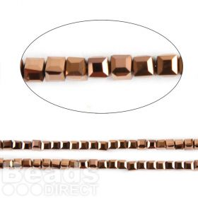 "Bronze Full Coat Essential Crystal Glass Faceted Cube Beads 3mm 13"" Strand"