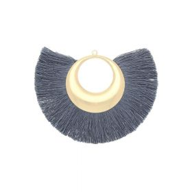 Fan tassel / viscose thread with moon base / 90mm / steel / 1pcs