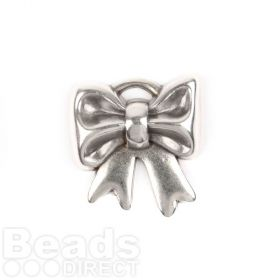 Antique Silver Zamak Large Bow Charm 31mm Pk1