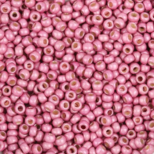 Toho Size 8 Round Seed Beads Frosted Permanent Finish Galvanized Pink Lilac 10g
