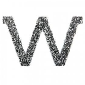 Swarovski Crystal Letter 'W' Self-Adhesive Fabric-It Black CAL Pk1