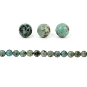 African Turquoise A Grade Semi Precious Round Beads 10mm Pk10