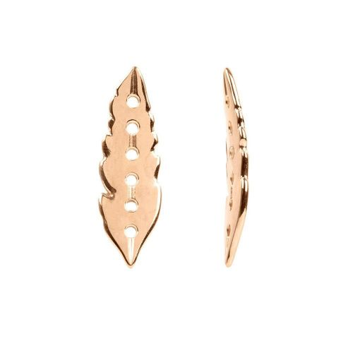 Rose Gold Plated Zamak Feather Connector 6 Hole 12x38mm Pk1