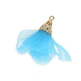 Tulle flower / with openwork tip / 30mm / Gold Plated / blue / 2 pcs