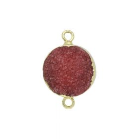 Druzy agate / connector / disk / 16x23x7mm / red / 1pcs