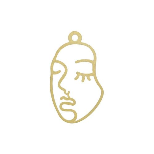 Face / charm / surgical steel / 27x16 / gold / 1pcs
