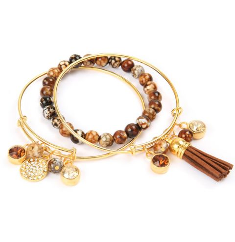 Captured Gold Charm Bangles