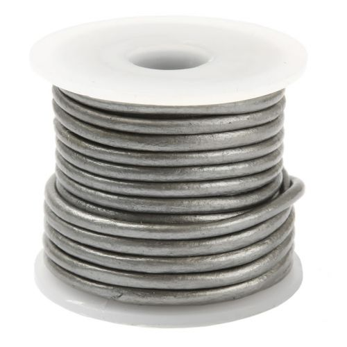 Grey Round Leather 3mm Cord 5 Metres